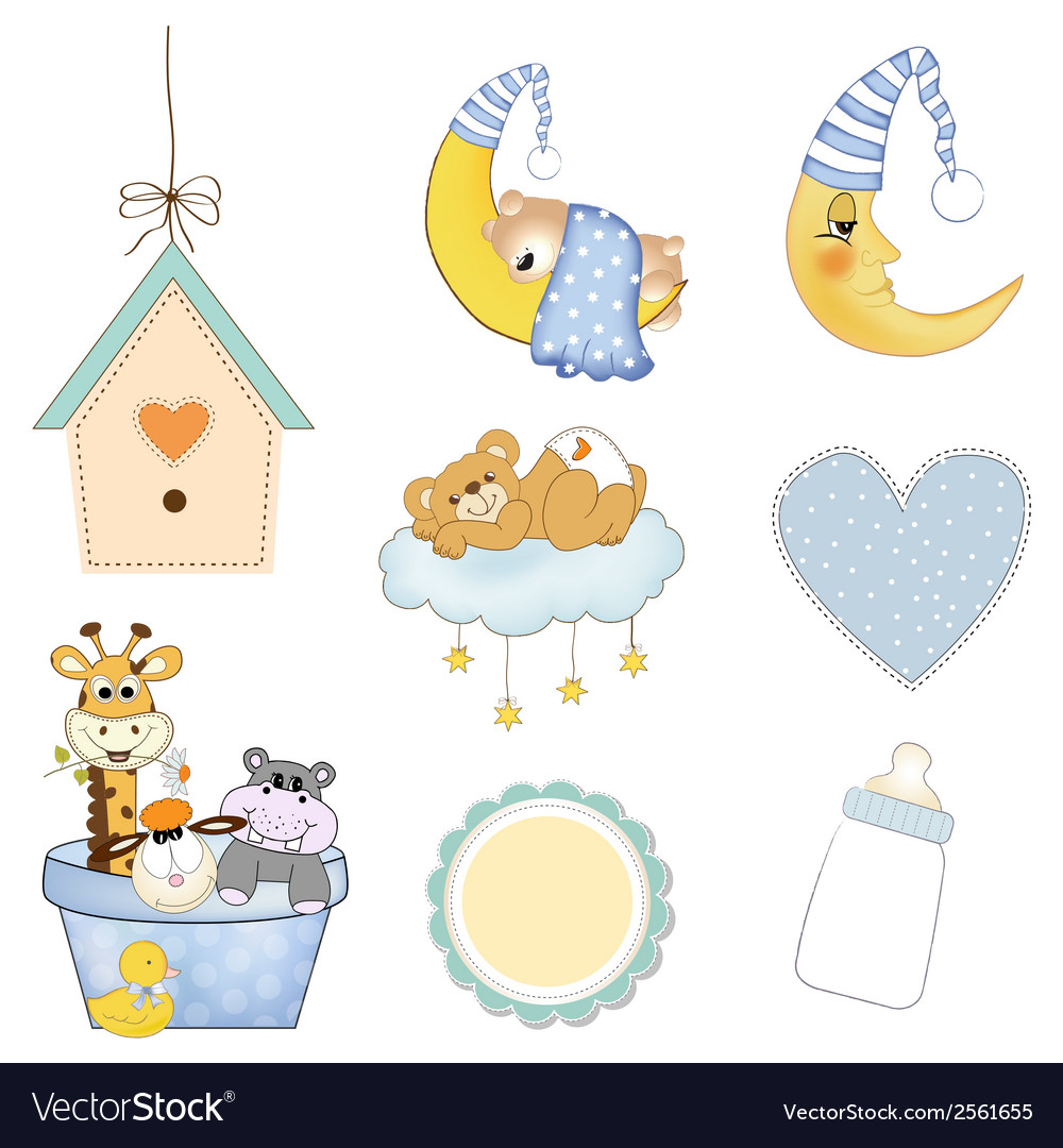 Baby boy items set in format isolated on white vector