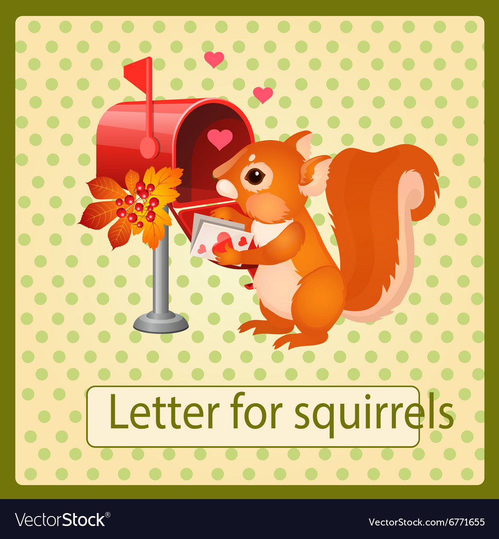 Cute squirrel with a valentines day letter vector
