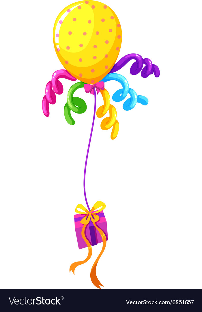 Helium balloon and present box vector