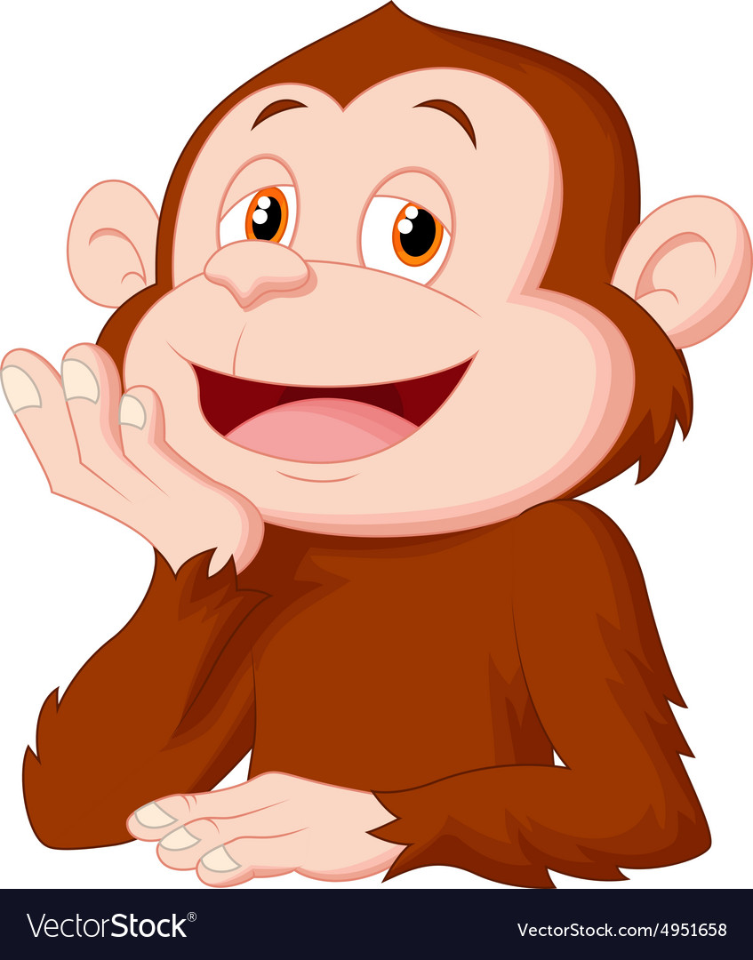 Cartoon chimpanzee thinking vector
