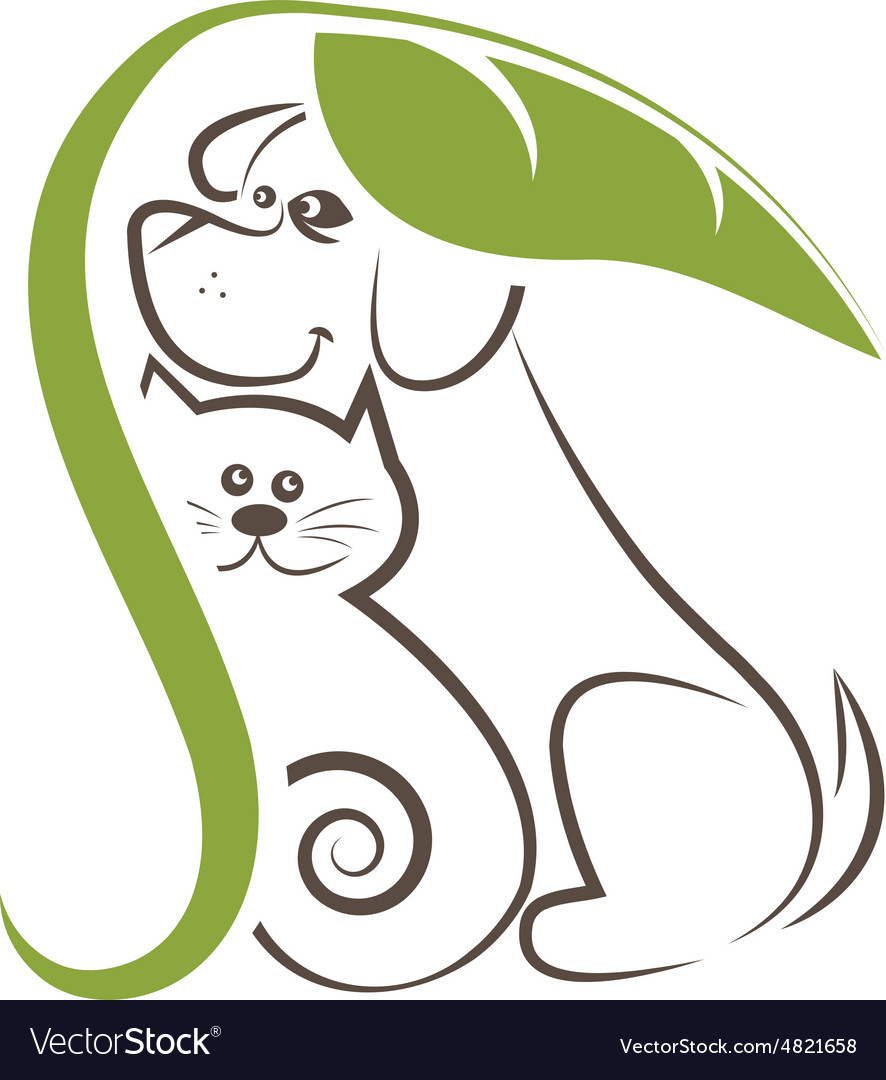 Line drawing cats and dogs under the leaf vector