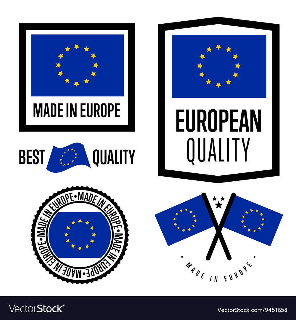 Made in europe label set vector