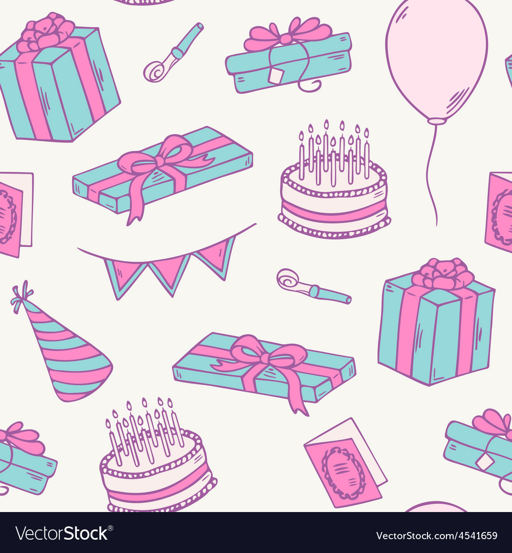 Hand drawn birthday party seamless pattern vector