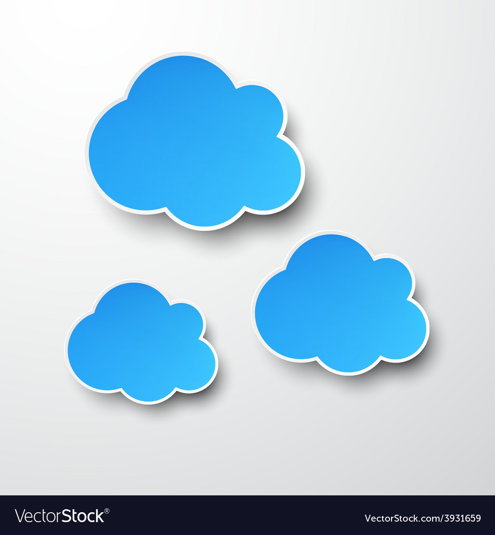 Paper blue clouds on white vector
