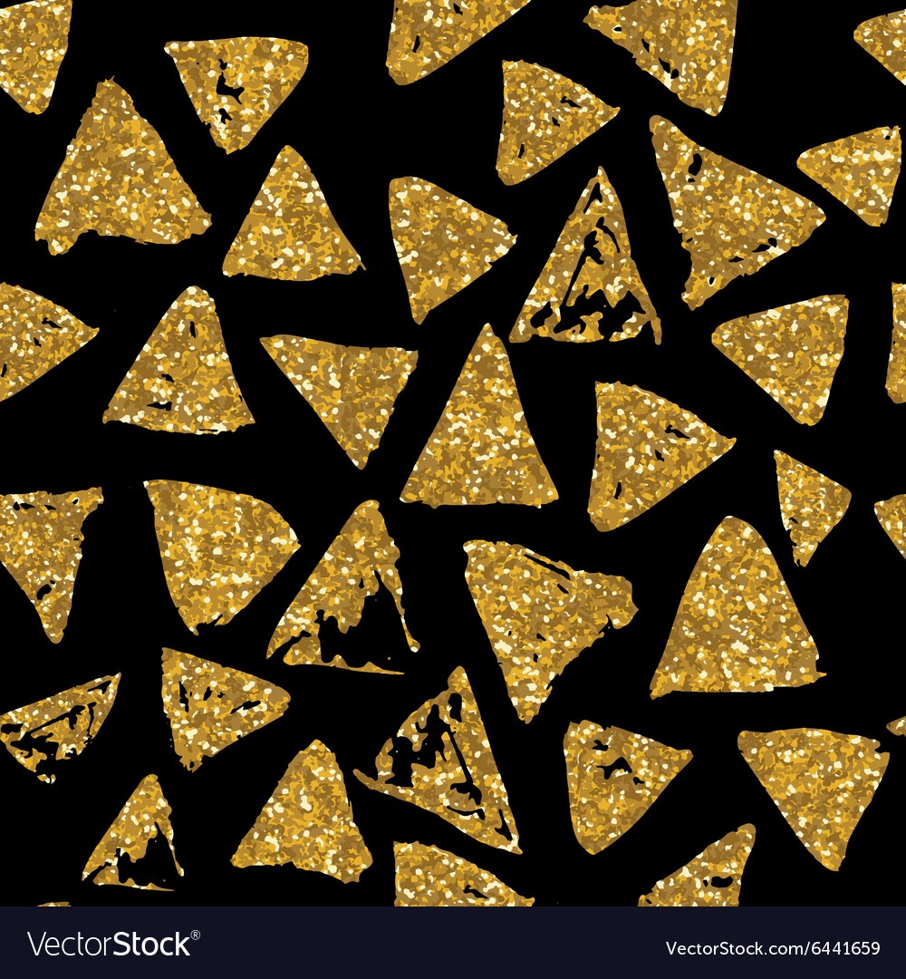 Triangles seamless pattern with golden glitter vector