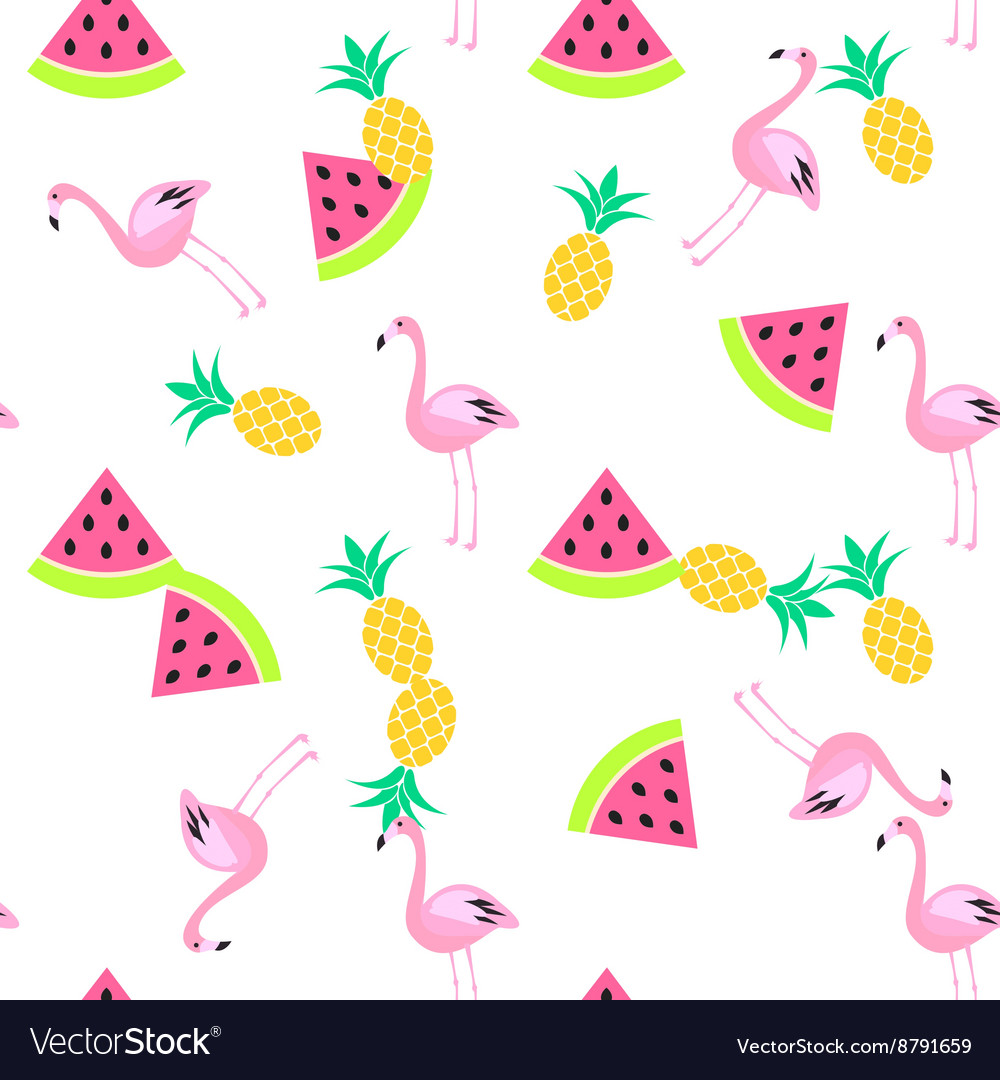 Tropic summer seamless white pattern vector