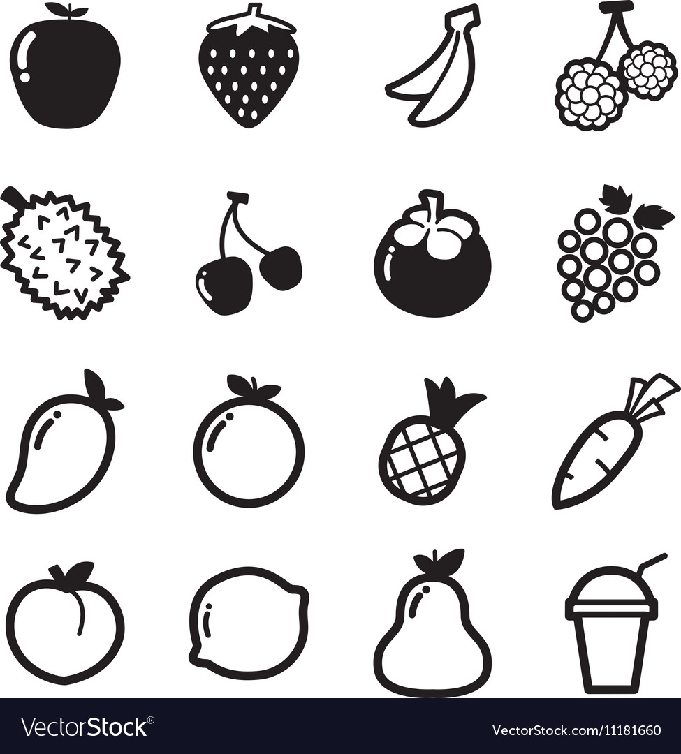 Fruit icons symbol vector