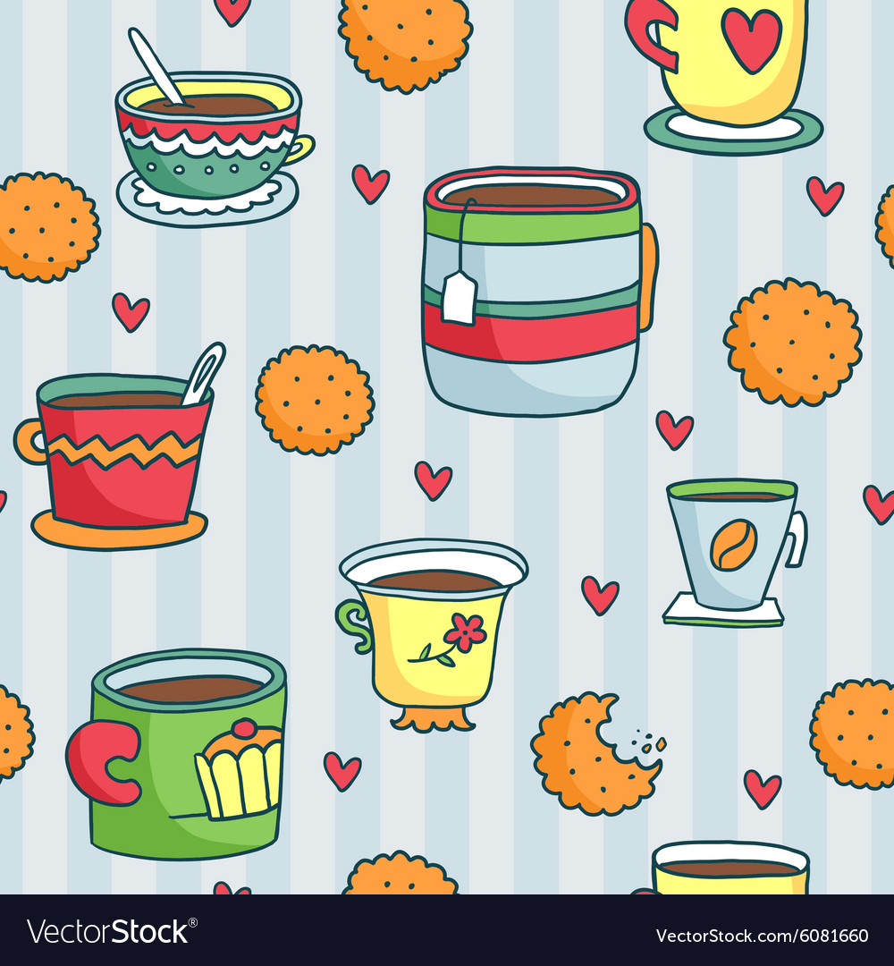Seamless pattern with hand drawn cups cookies and vector