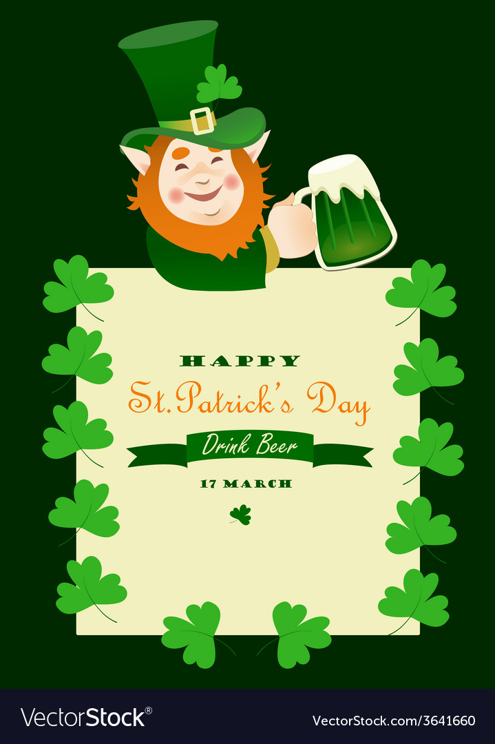 St partick day greeting card vector
