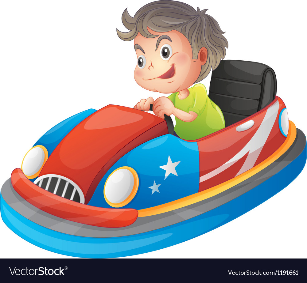 A young boy riding a bumper car vector