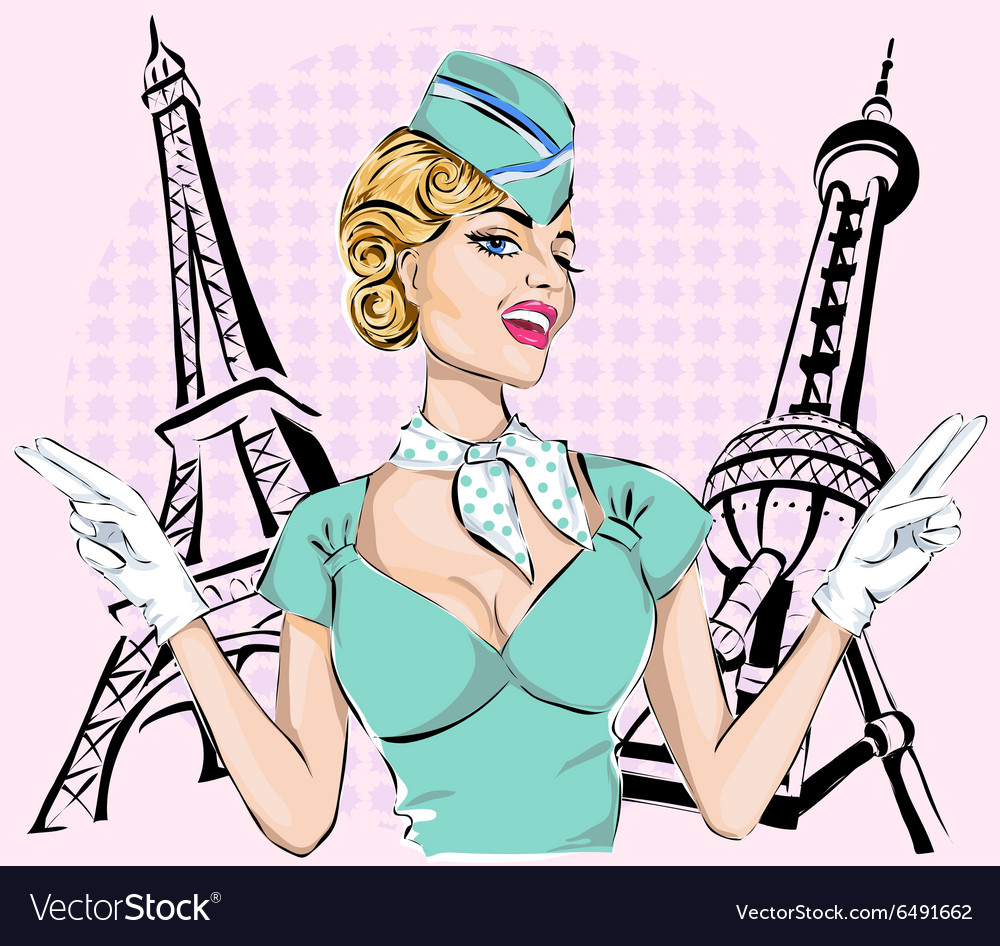 Beautiful sexy stewardess with eiffel tower and vector