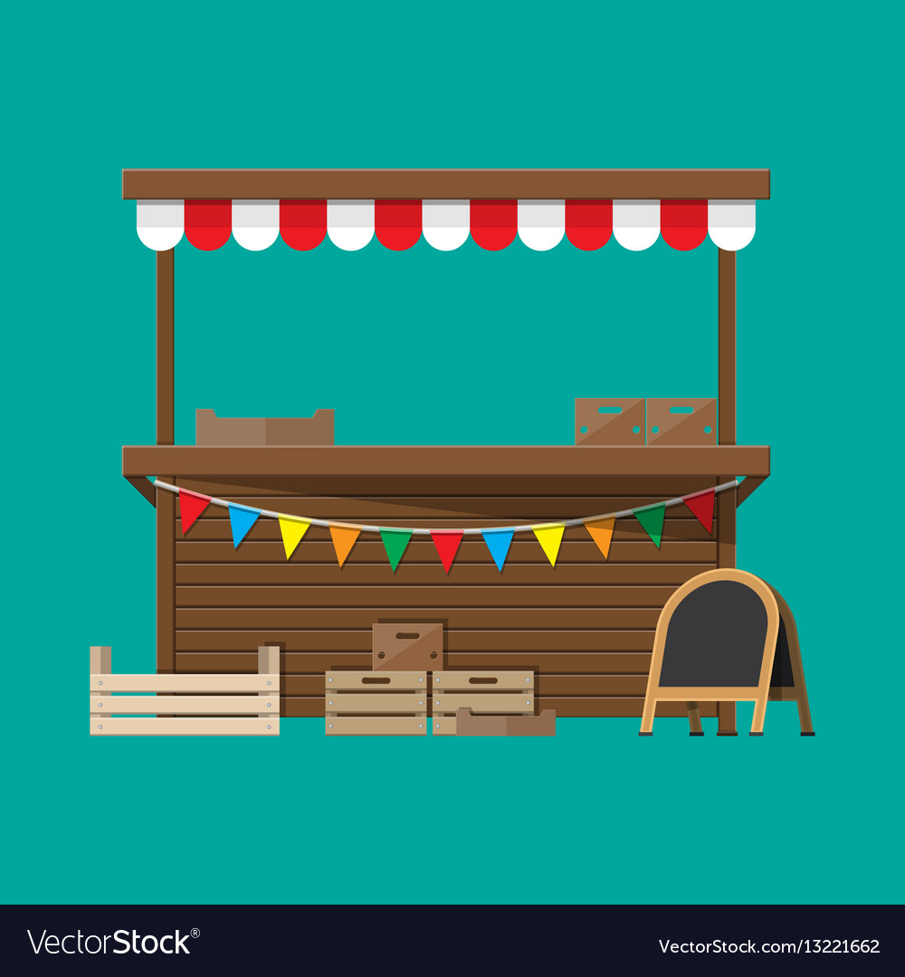 Market food stall with flags crates chalk board vector