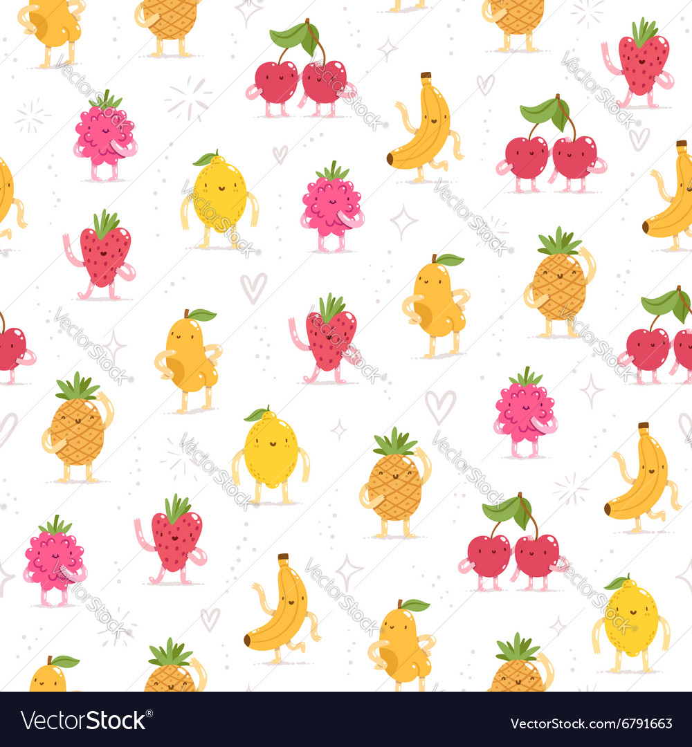 Cartoon fruit characters seamless pattern vector