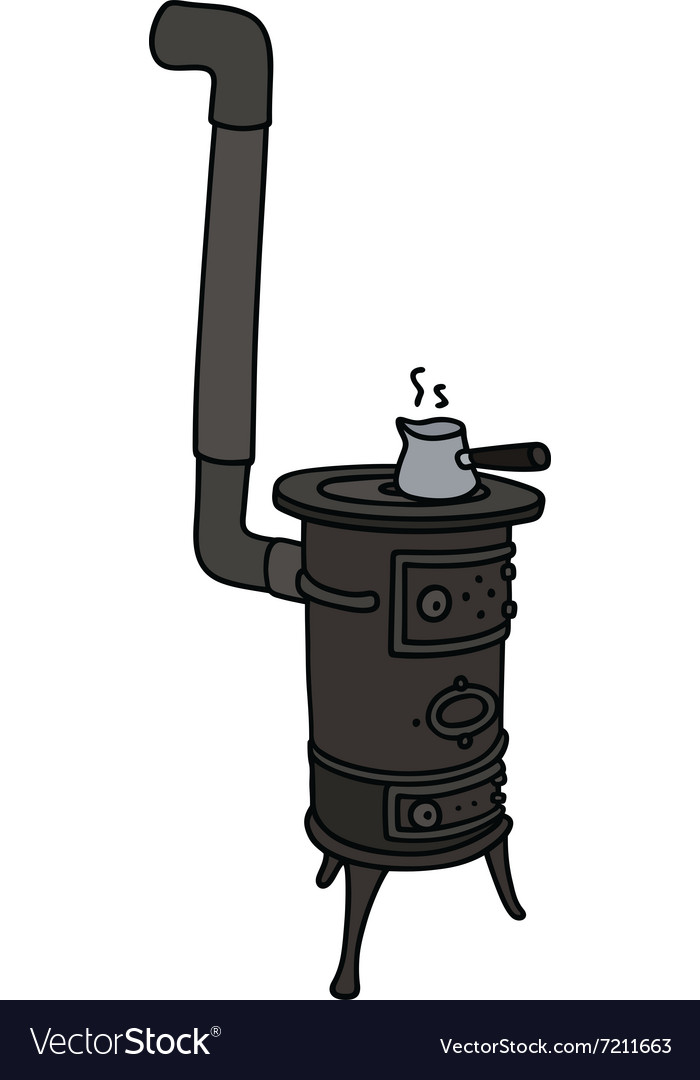 Hand drawing of an old small stove vector
