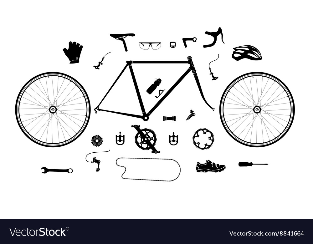 Road bicycle parts and accessories silhouette set vector