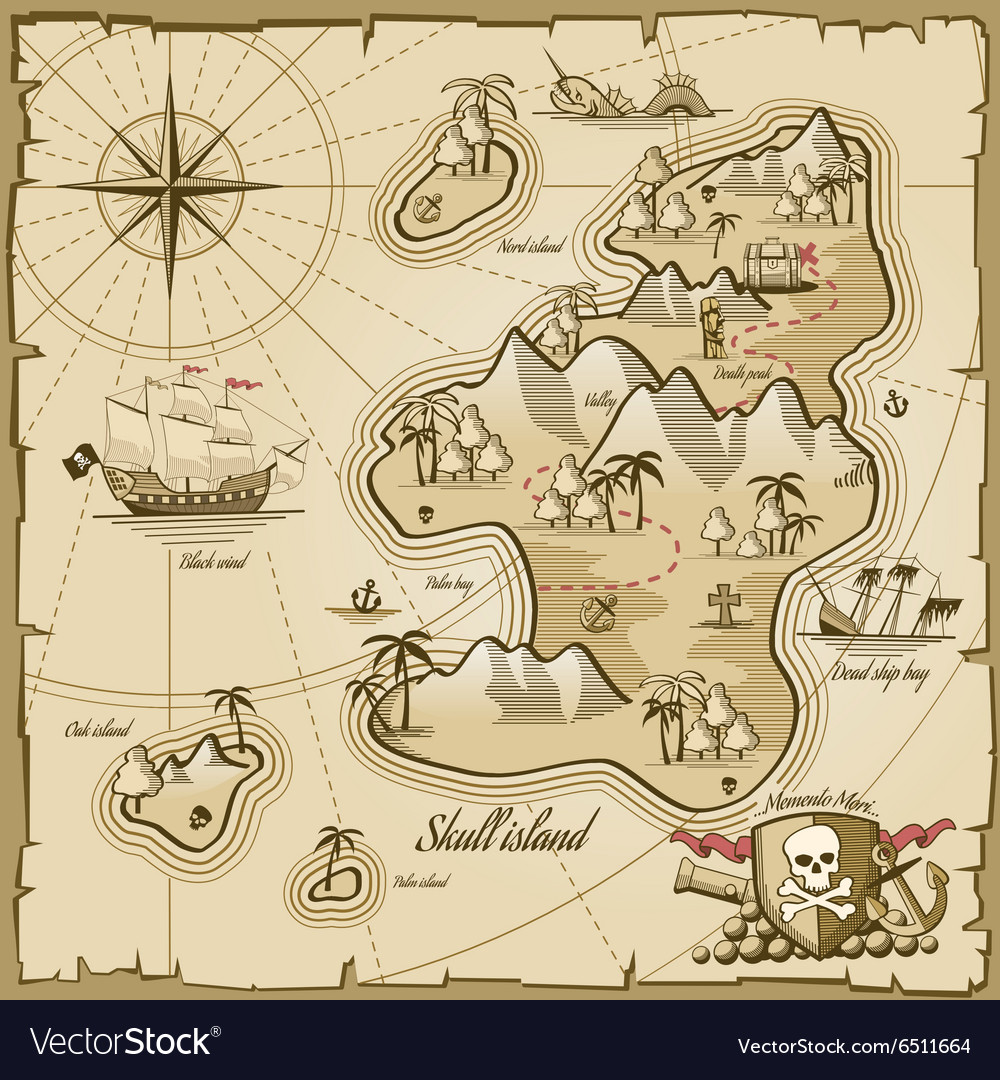 Treasure island map in hand drawn style vector