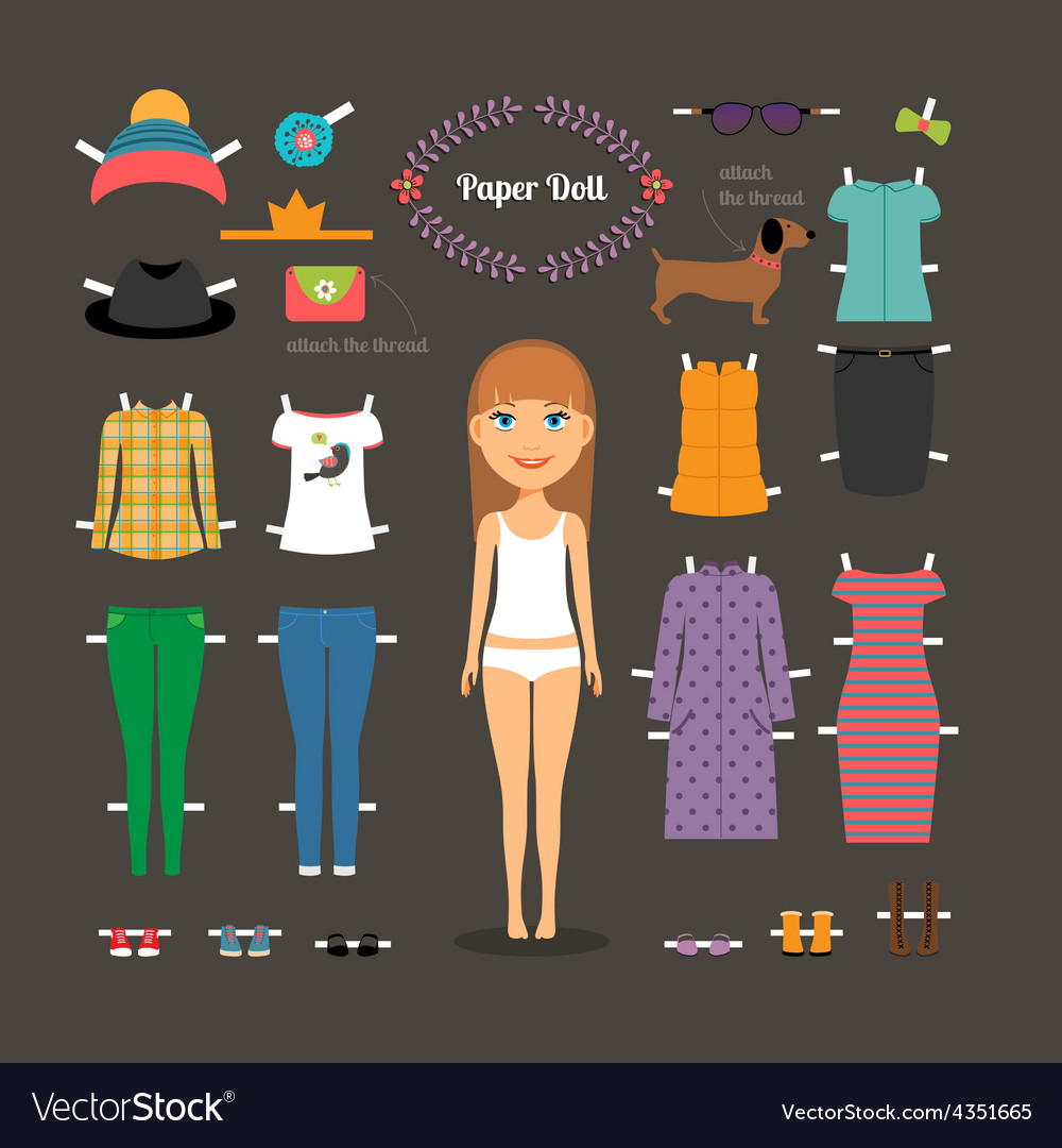 Dress up paper doll with big head vector