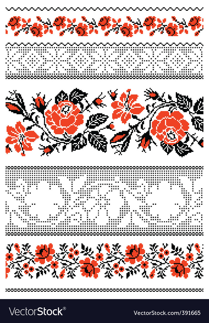 Ukrainian embroidery ornament with roses vector