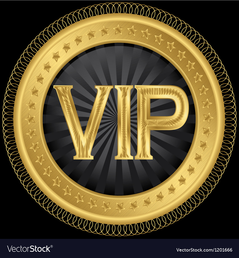 Golden vip badge vector