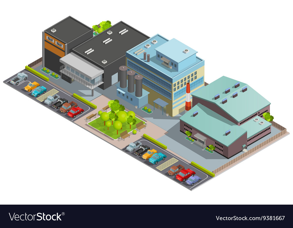 Factory isometric composition vector