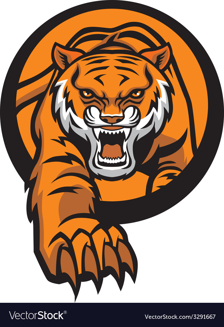 Tiger mascot come out from circle vector