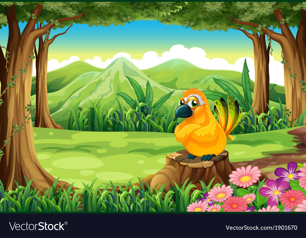An orange bird above the stump at the forest vector