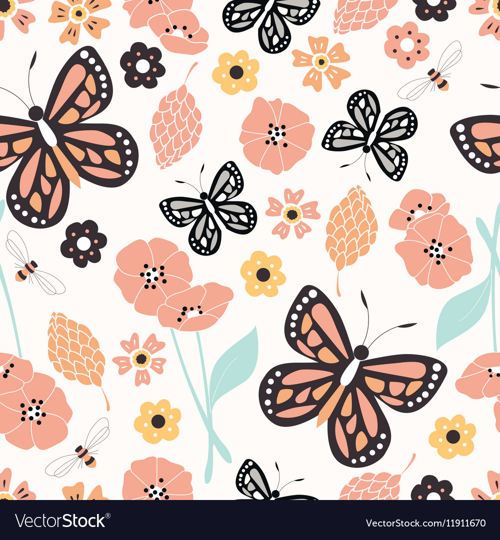 Flower and butterfly seamless pattern vector