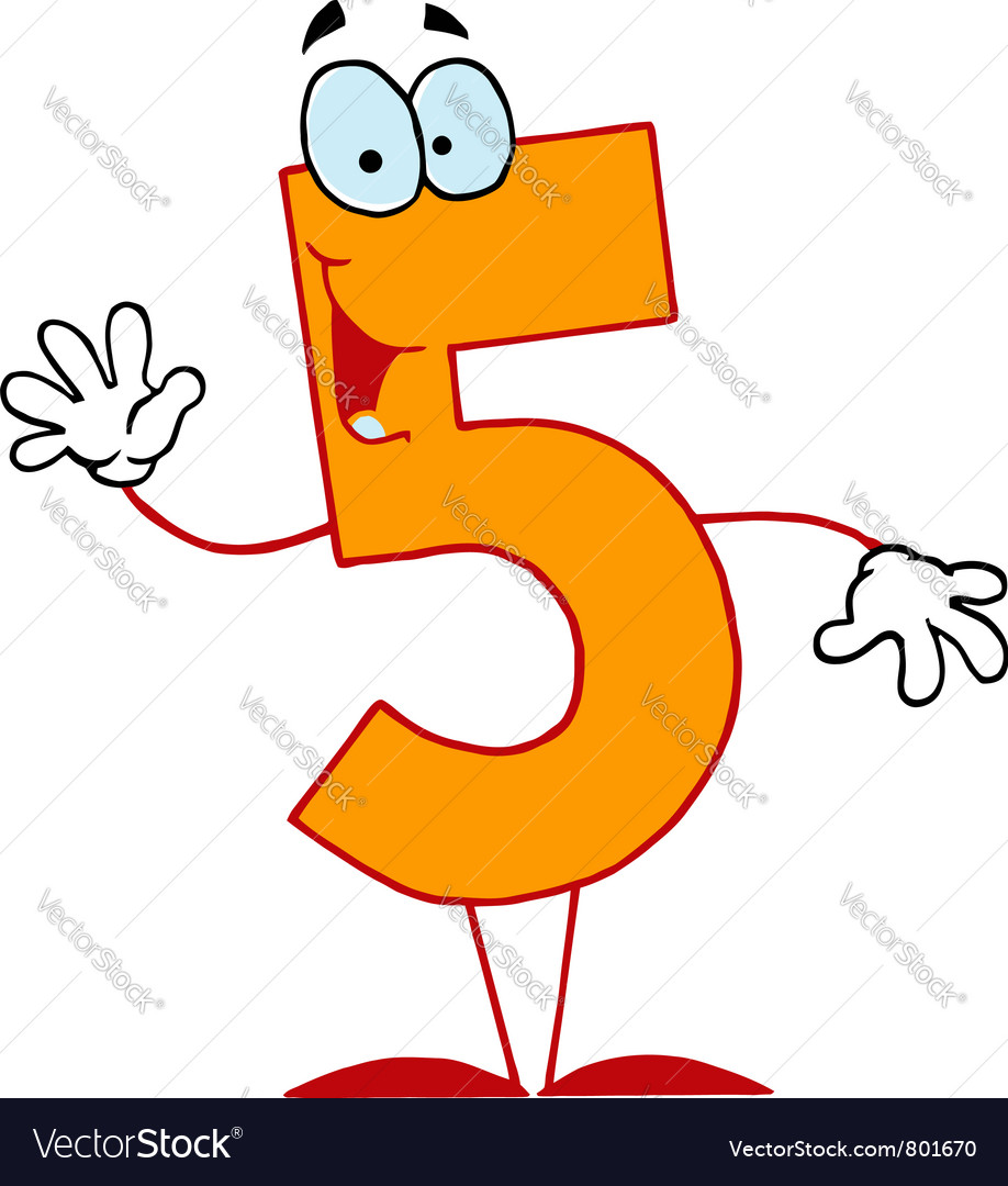Funny cartoon numbers5 vector