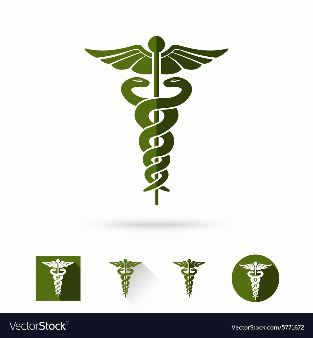 Caduceus  medical sign in different modern flat vector
