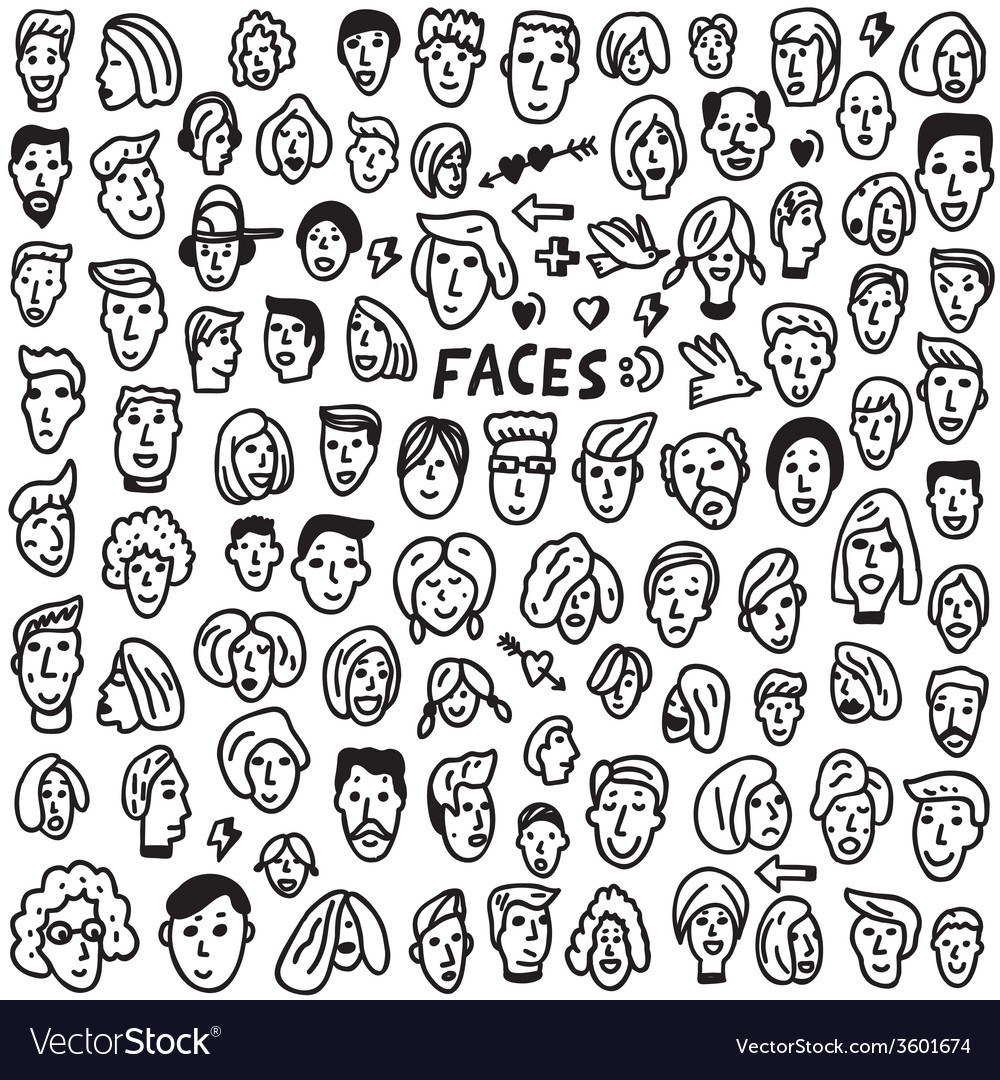 Faces  doodles set vector
