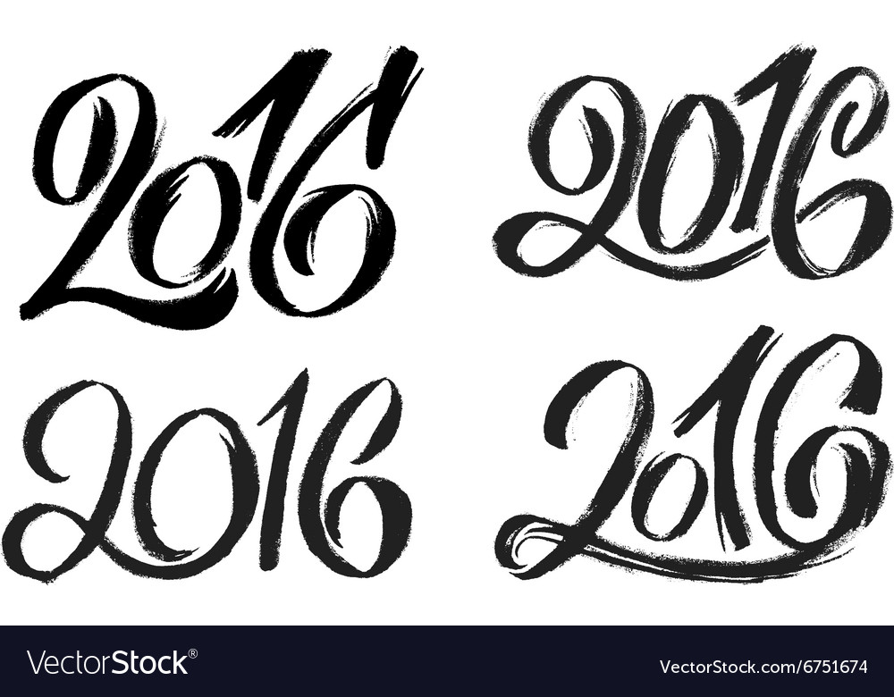 New year 2016 hand lettering design set vector