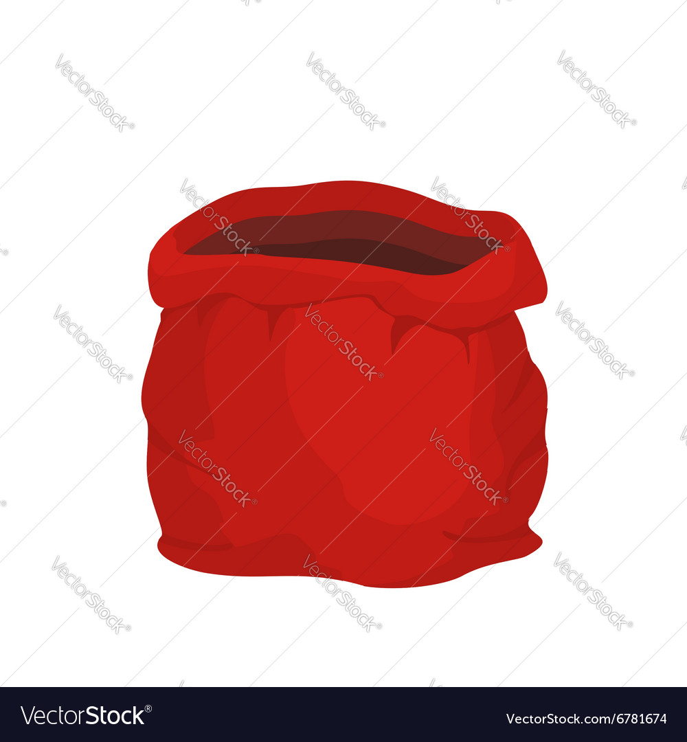 Open empty sack santa claus red big bag for gifts vector