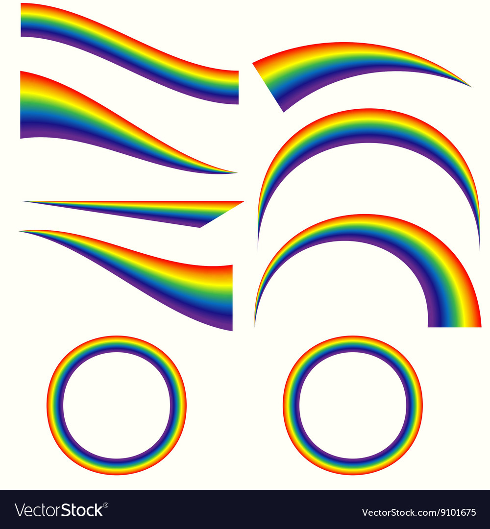 Different rainbows set vector
