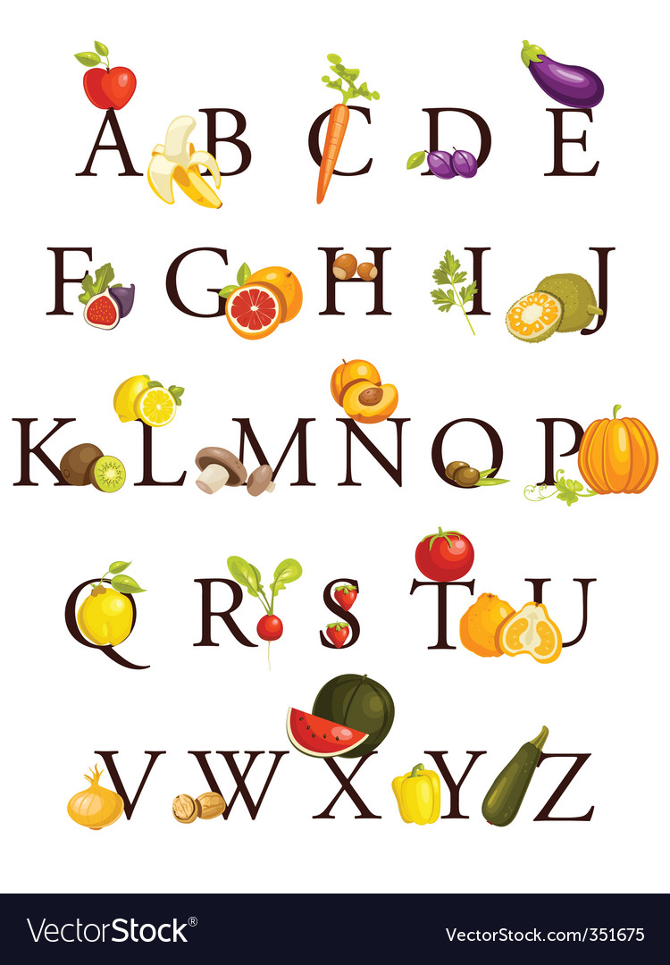 Fruit alphabet vector