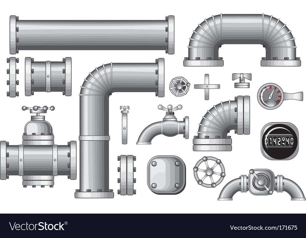 Pipeline construction pieces vector