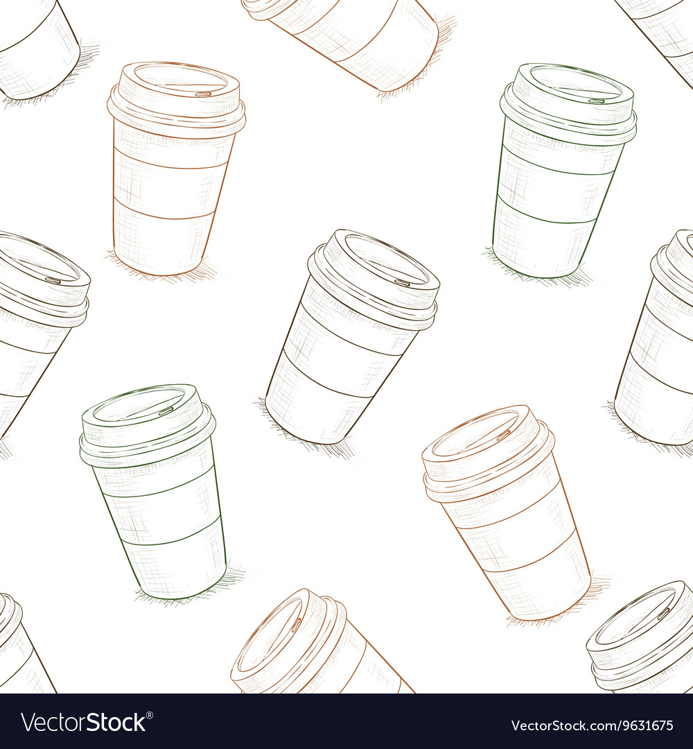 Seamless pattern scetch of coffee to go vector