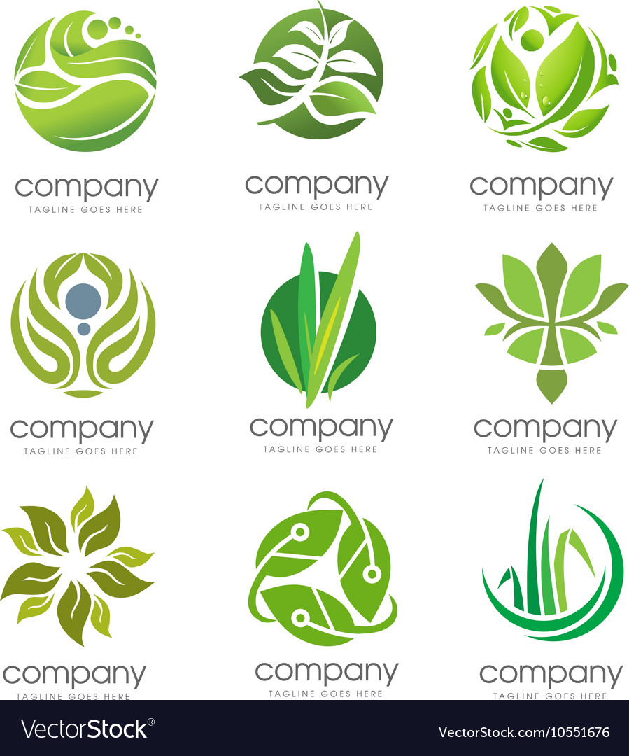 Circle green leaf logo set vector