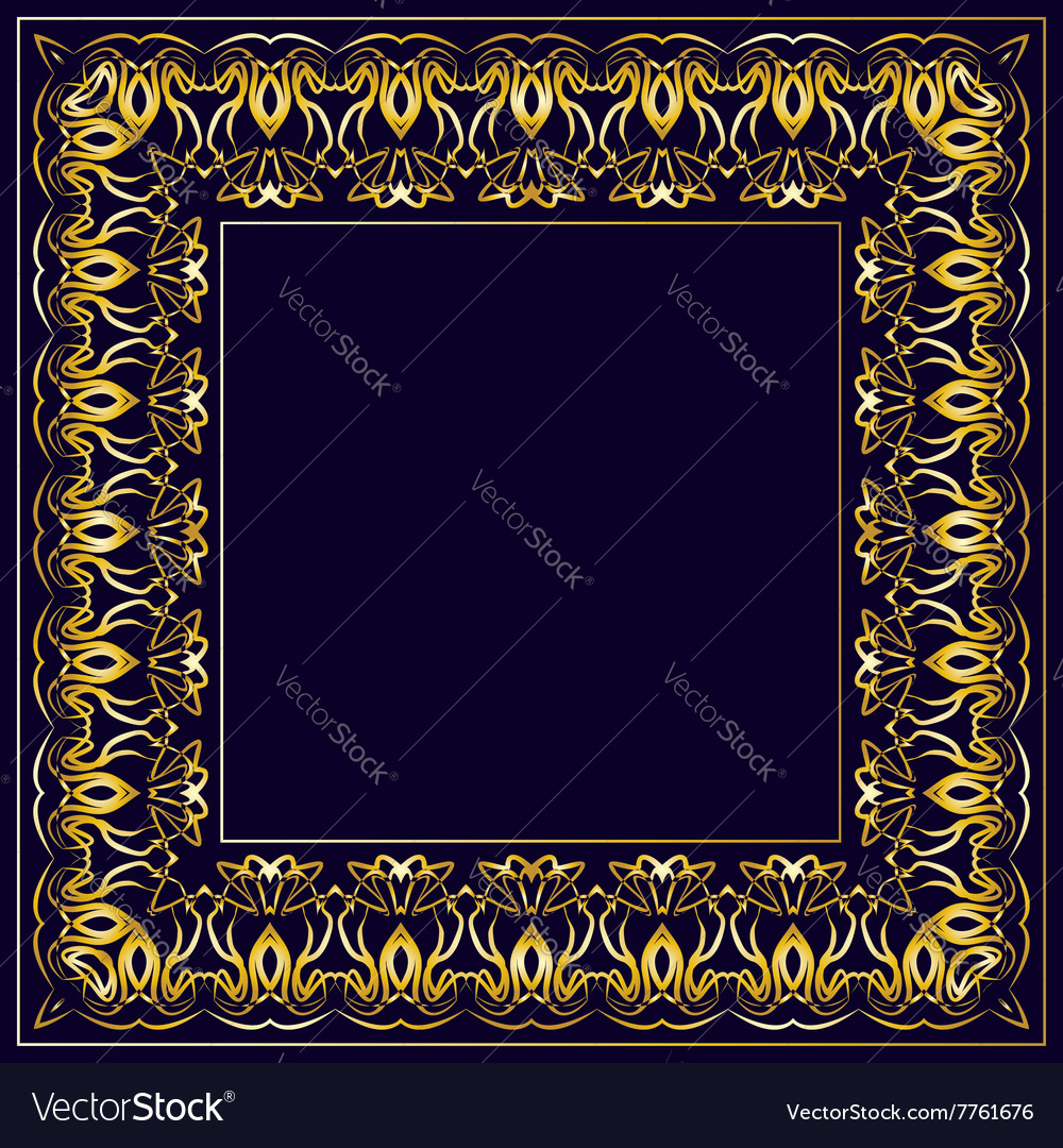 Frame with gold pattern on a blue background vector