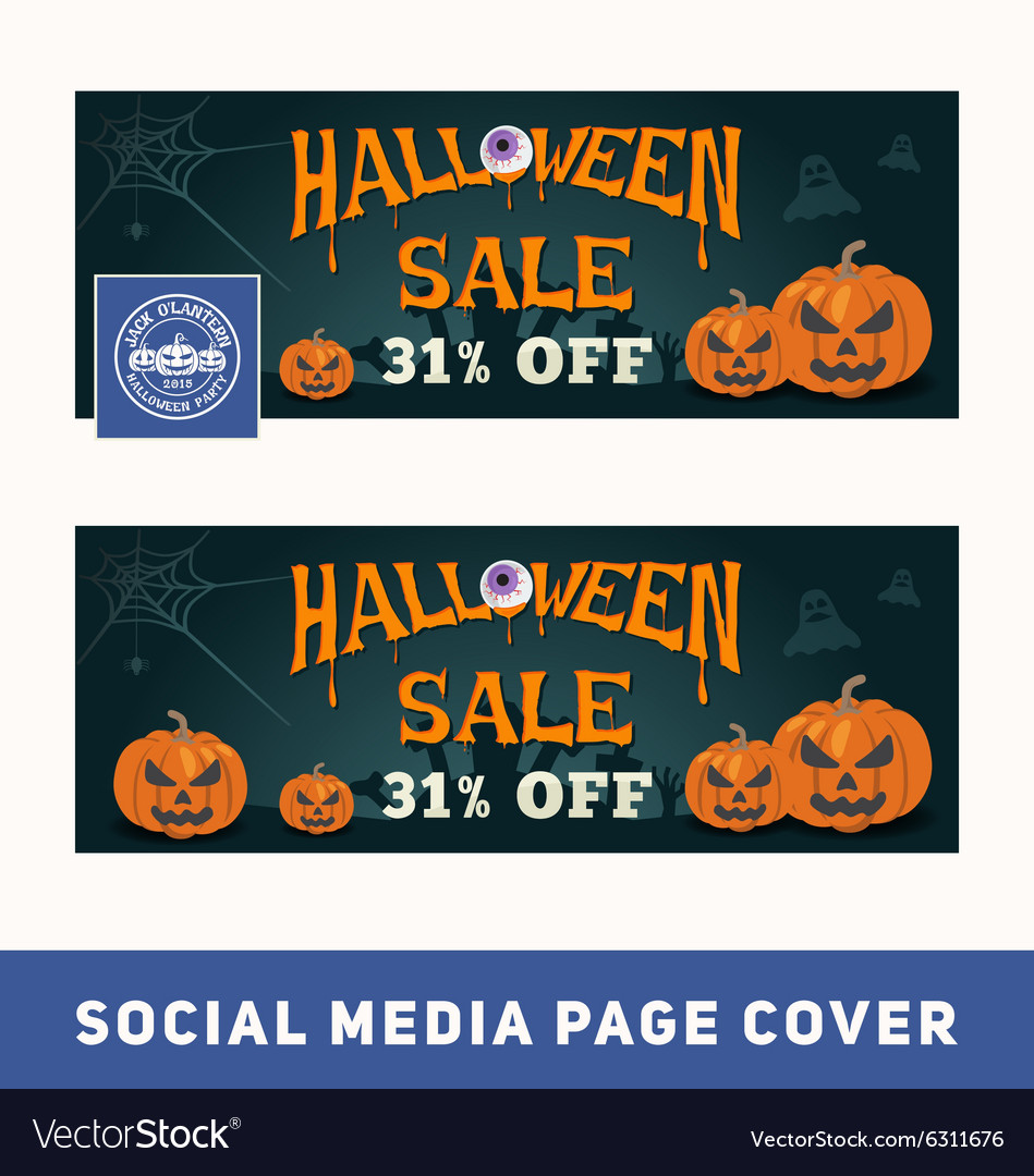 Halloween sale promotion banner for social media vector