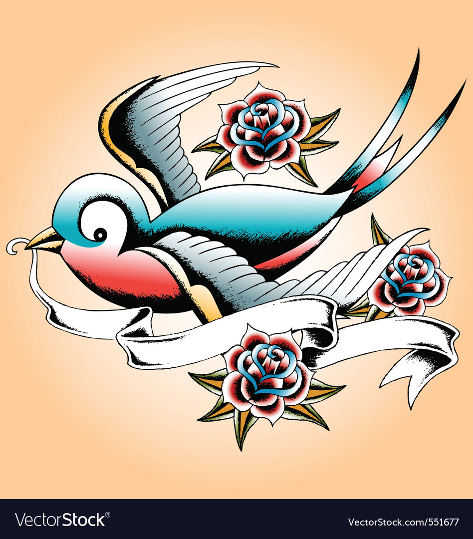 Bird tattoo vector