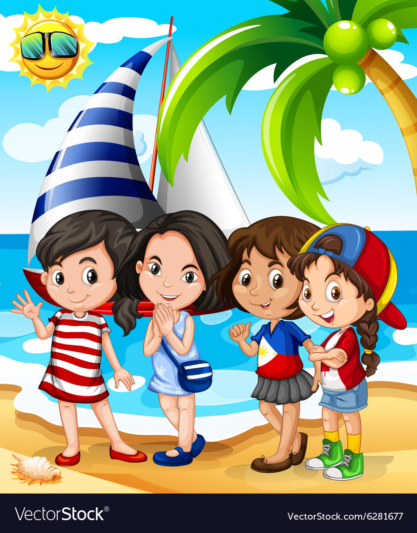 Girls having fun on the beach vector