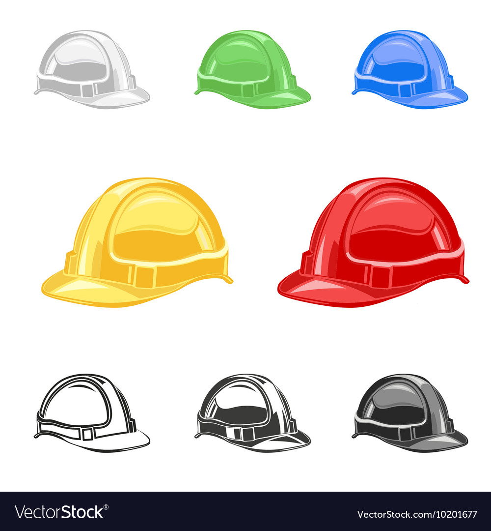 Hard hat safety helmet set building under vector
