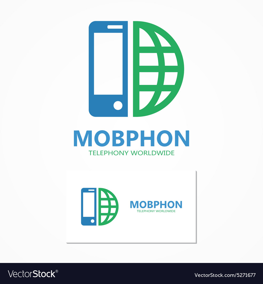 Logo combination of a phone and earth vector