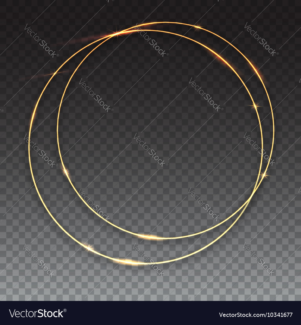 Sparkling golden glow rings vector