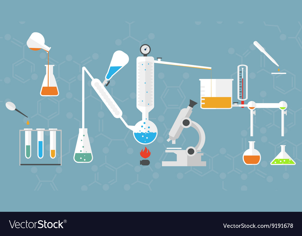 Chemical lab tubes system vector