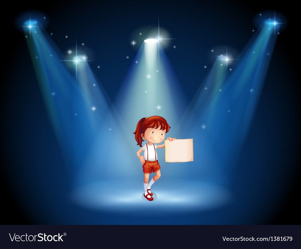 A stage with a girl holding an empty signage in vector