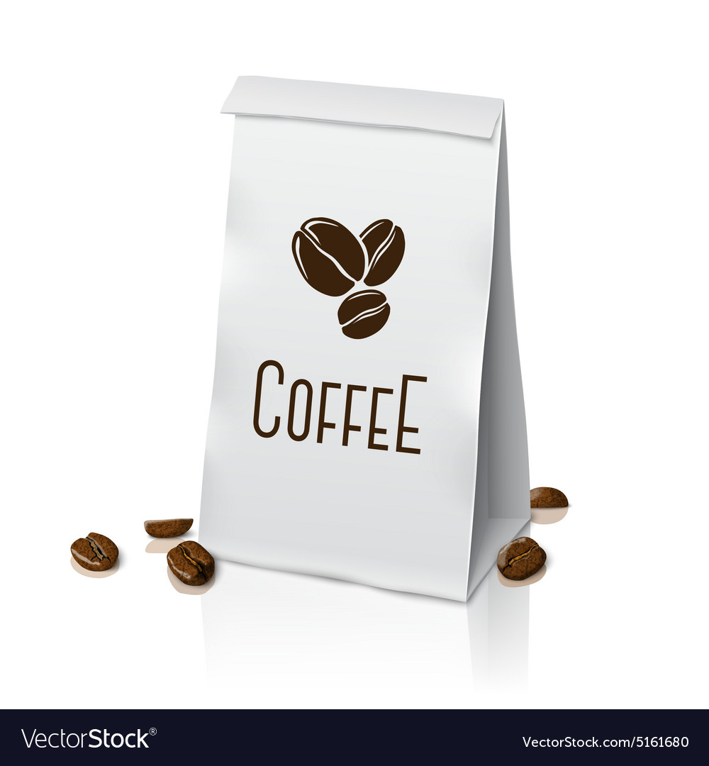 Blank realistic paper packaging coffee bag vector