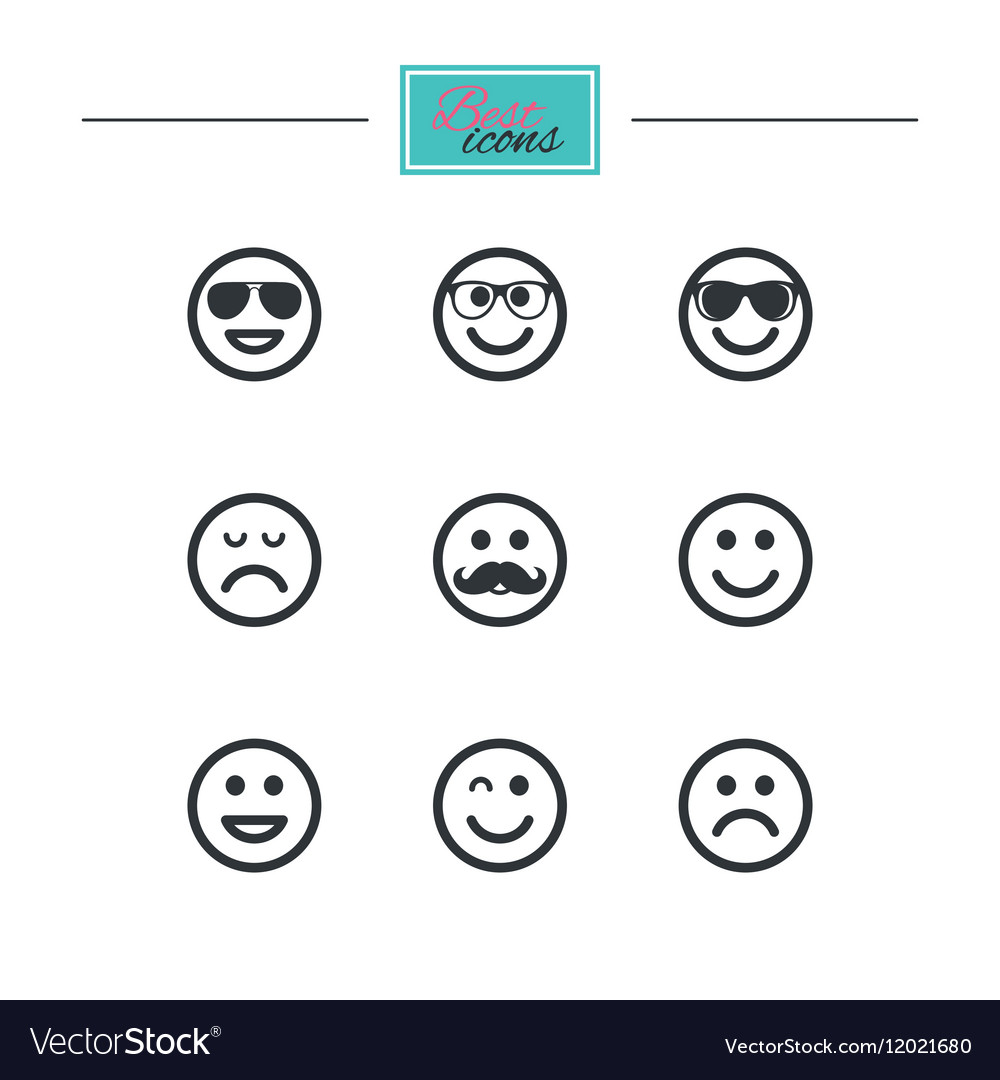 Smile icons sunglasses mustache and laughing vector
