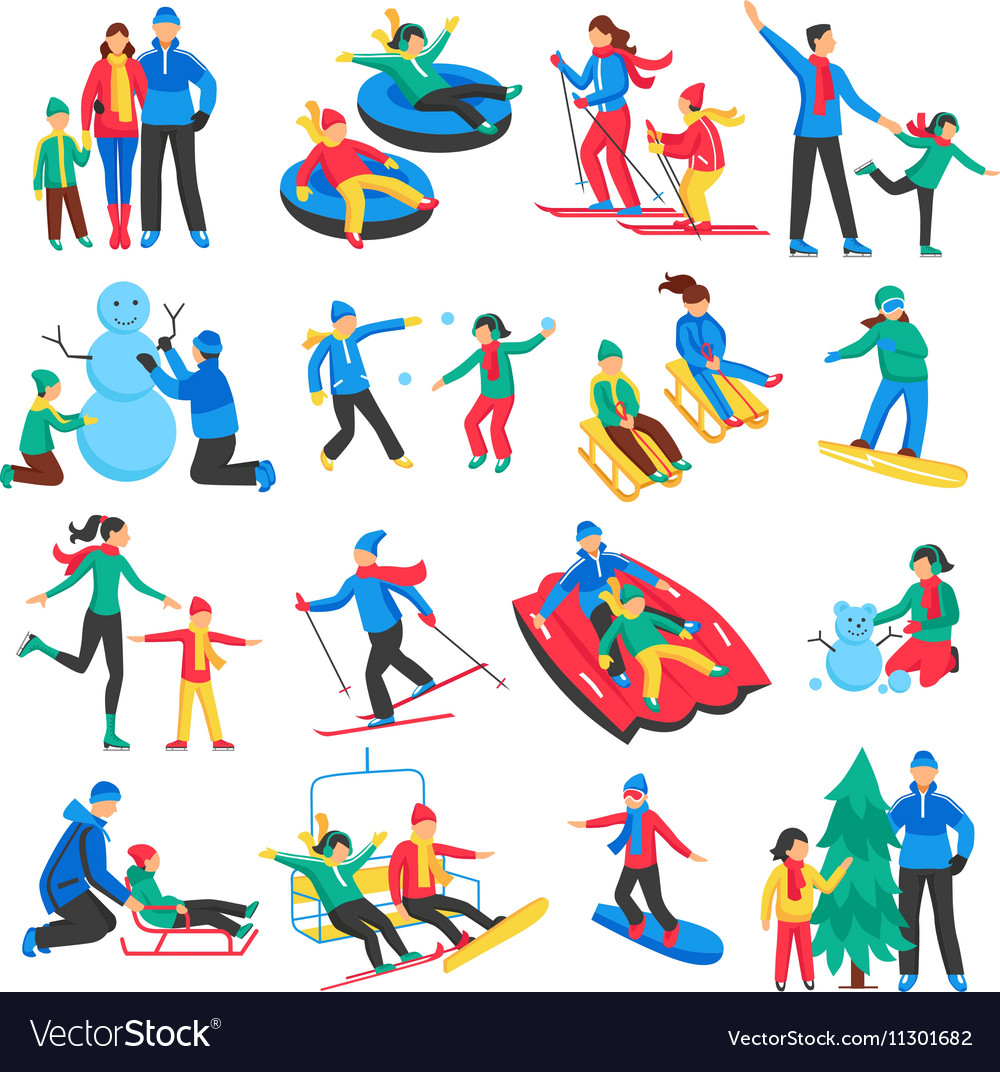 Family winter sports icons set vector
