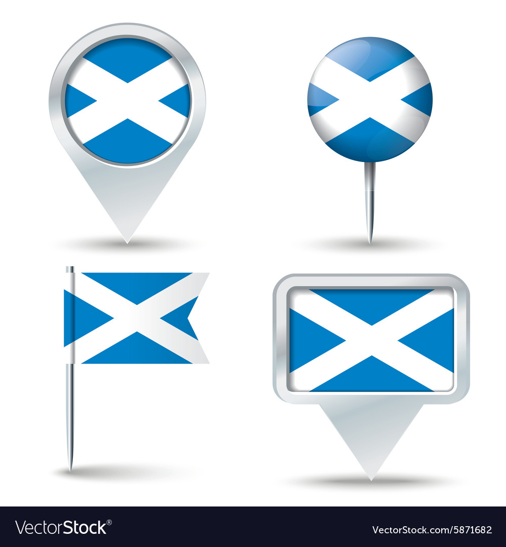 Map pins with flag of scotland vector